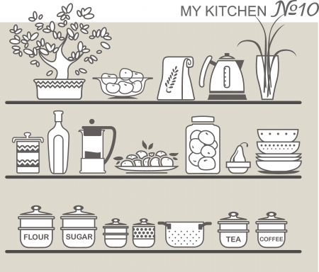 cooking book: Kitchen utensils on shelves