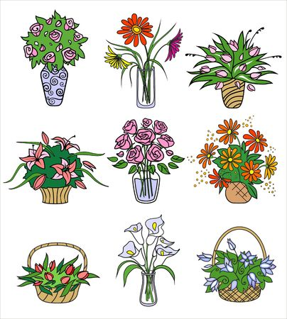 flower bouqets in vases. Vector illustration Vector
