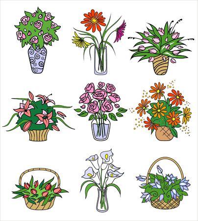 tulips in vase: flower bouqets in vases. Vector illustration Illustration