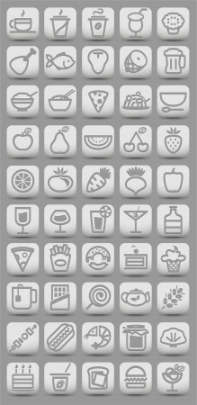 shrimp cocktail: buttons witn food icons. Vector illustration