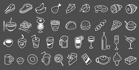 shrimp cocktail: food icons vector collection on black background