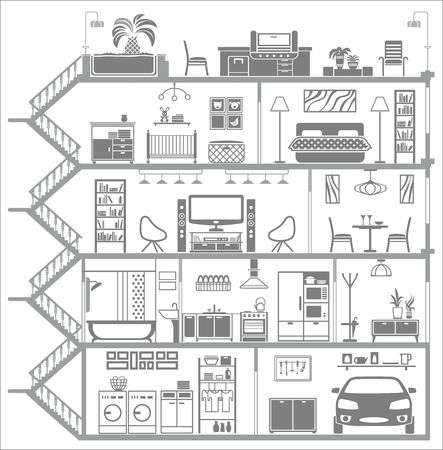 house interior silhouette illustration Vectores