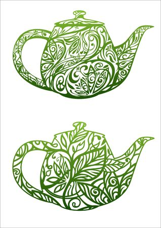 coffee leaf: green tea concept, kettle with floral ornament Illustration