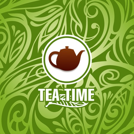 tea leaf: tea time vector template