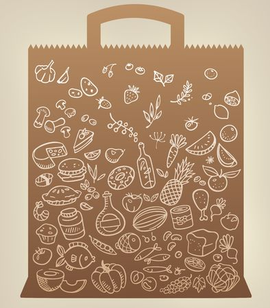 food icons on paper bag