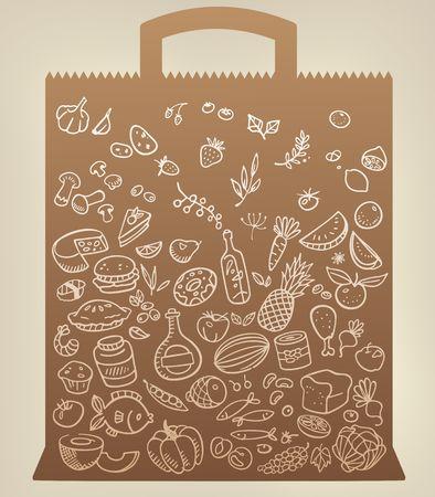 voedsel pictogrammen op papieren zak Stock Illustratie