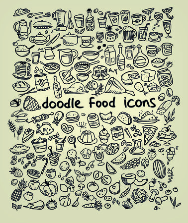 food icons, drawn by hand Vector