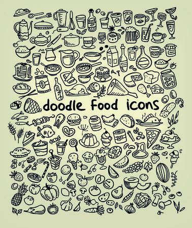 voedsel iconen, met de hand getekend