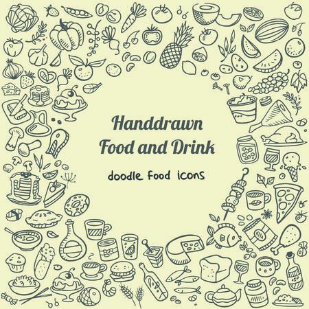 doodle voedsel pictogrammen
