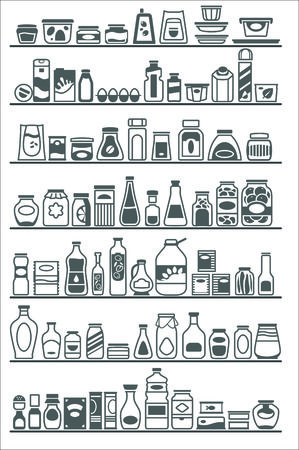 grocery shelves: store shelves with different goods