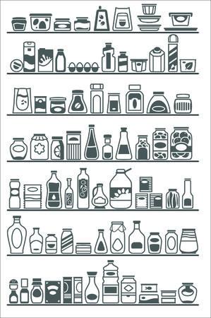 winkelschappen met verschillende goederen Stock Illustratie