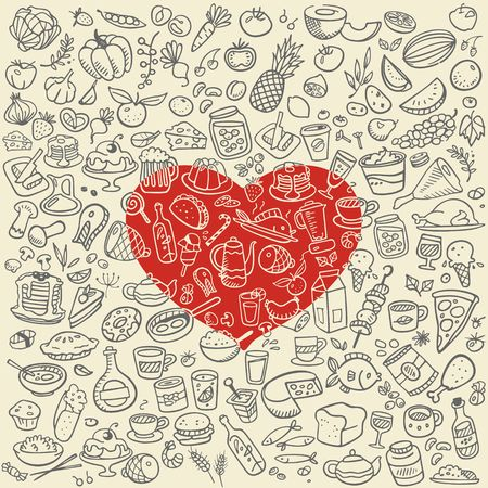 doodle food icons, love food vector background Vector