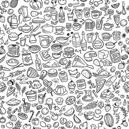 Iconos de los alimentos del doodle de fondo sin fisuras Foto de archivo - 32280224