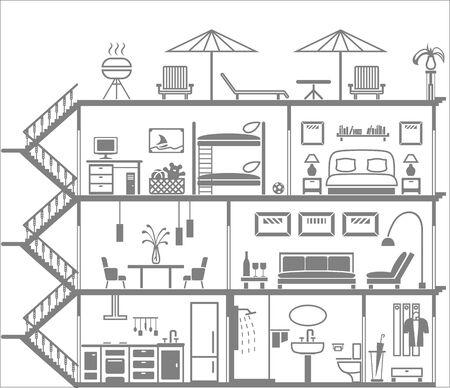 clean bathroom: house interior silhouette. Vector illustration