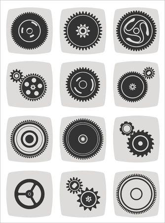 dag: gearwheel mechanism icon set, vector illustration