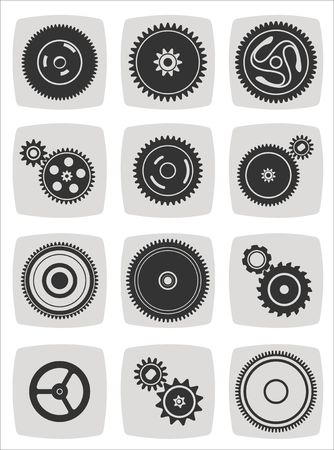 gearwheel mechanism icon set, vector illustration