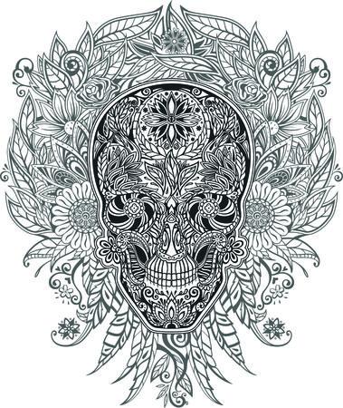 muerte: cráneo humano hecho de flores, ilustración vectorial Vectores