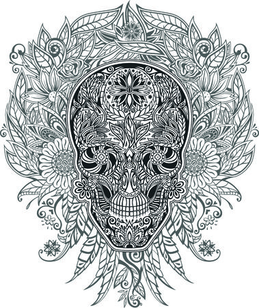 human skull made of flowers, vector illustration Vector