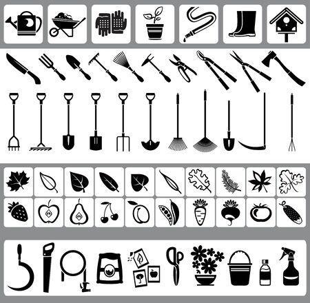 werkzeug: Garten und Natur Ikonen mit Obst, Gem�se, Bl�tter, Fr�chte und Gartenger�te