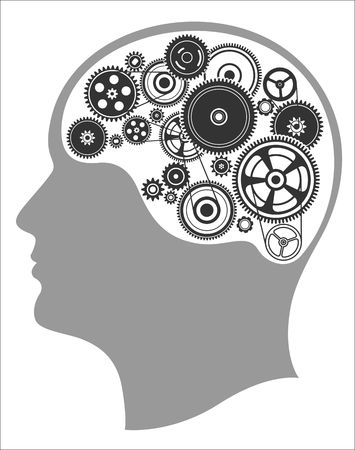 dag: Concept of thinking, mind works, the creation of ideas, head and mechanism