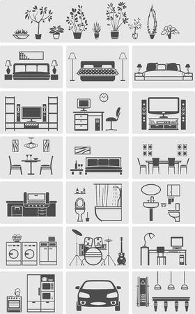 snooker room: house interior elements silhouette. Vector illustration Illustration