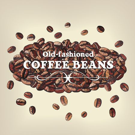 roasted coffee bean background. Vector illustration Vector