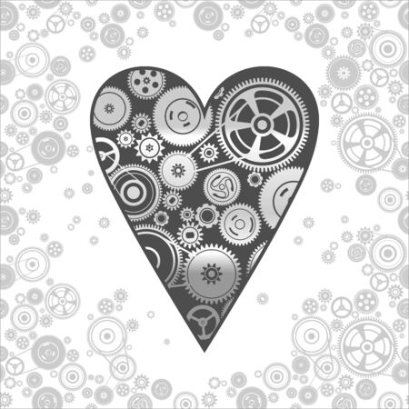 dag: gearwheel heart-shaped mechanism background, vector illustration