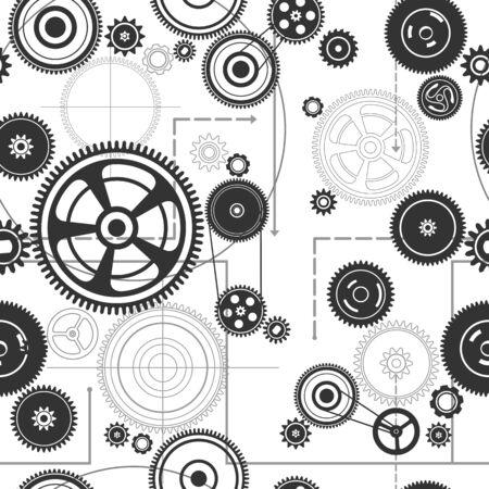 timekeeper: seamless gearwheel mechanism background, vector illustration