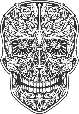all saint day: human skull made of flowers. vector illustration Illustration