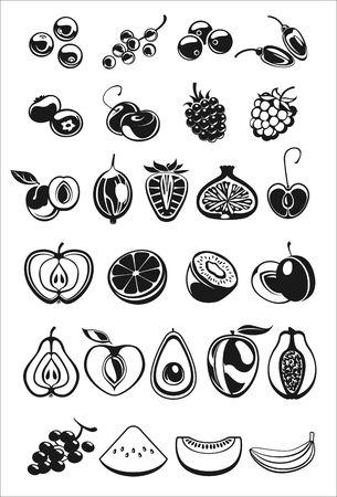 grosella: frutas y bayas negro y blanco Iconos