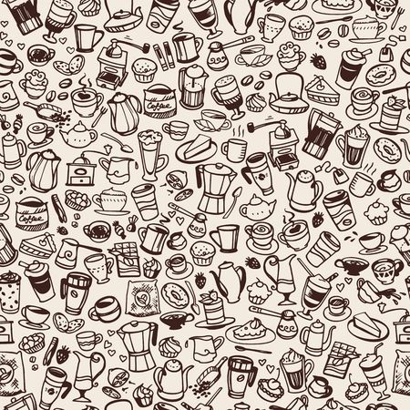 espresso machine: vector doodle coffee and tea seamless background