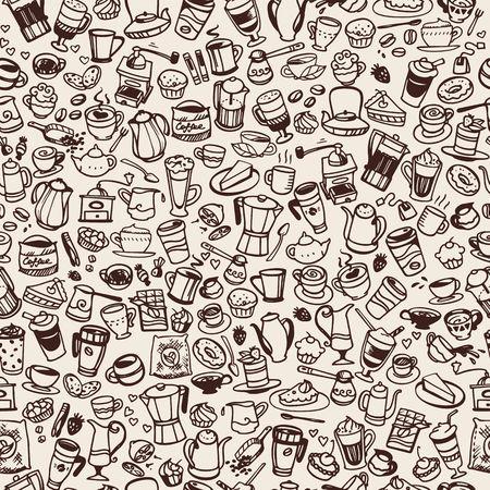 Vektor-doodle Kaffee- und Tee-nahtloser Hintergrund