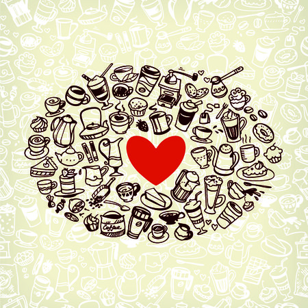 vector doodle coffee, tea and confectionery icons Vector