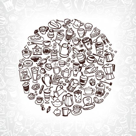 turkish dessert: vector doodle coffee, tea and confectionery icons
