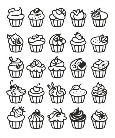 cupcake: 9 different colorful delicious cupcakes vector illustration