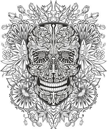 deaths: human skull made of flowers. vector illustration Illustration
