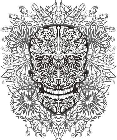 human skull made of flowers. vector illustration Illustration