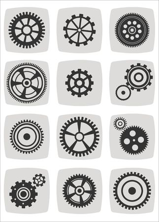 gearwheel mechanism elements icon set, vector illustration Illustration