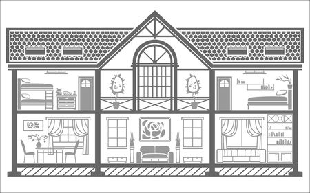 family living room: house interior silhouette with furniture. Vector illustration Illustration