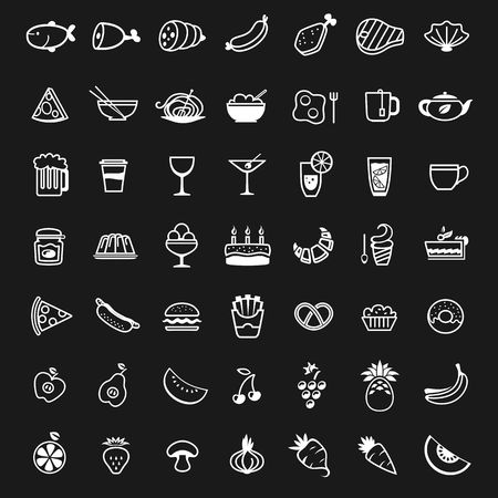 white food icons on black background, vector illustration