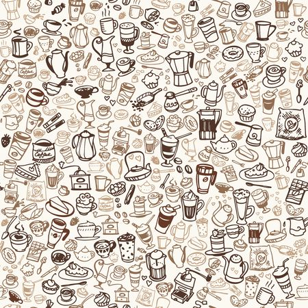 doodle coffee and tea seamless background. Vector illustration