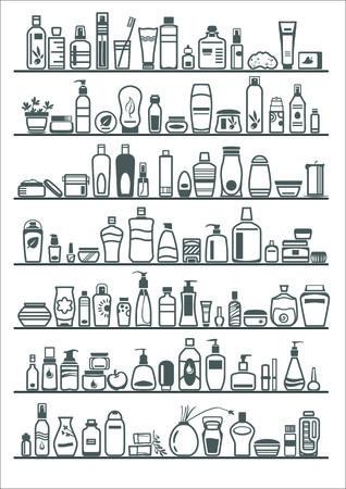 aseo personal: diferentes productos cosméticos para el cuidado personal, ilustración vectorial Vectores
