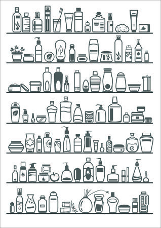 personal accessory: different cosmetic products for personal care, vector illustration