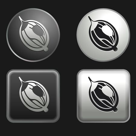 gooseberry icon on round and square buttons Illustration