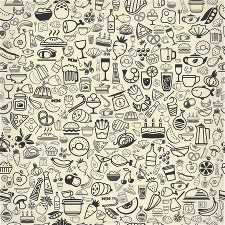 naadloze backround gemaakt van voedsel en drank iconen Stock Illustratie