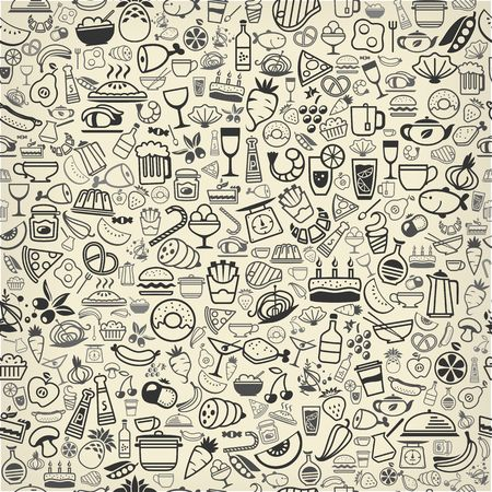seamless backround made of food and drink icons