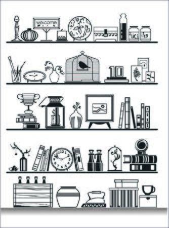 bank book: wall shelves silhouette. Vector illustration