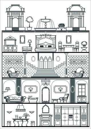 garden fountain: house interior silhouette. Vector illustration