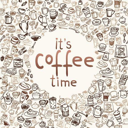 vector doodle coffee and tea background Illustration