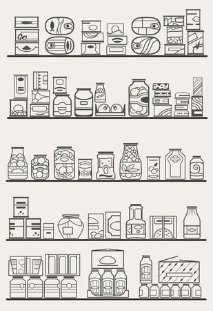canned food: store shelves with goods Illustration